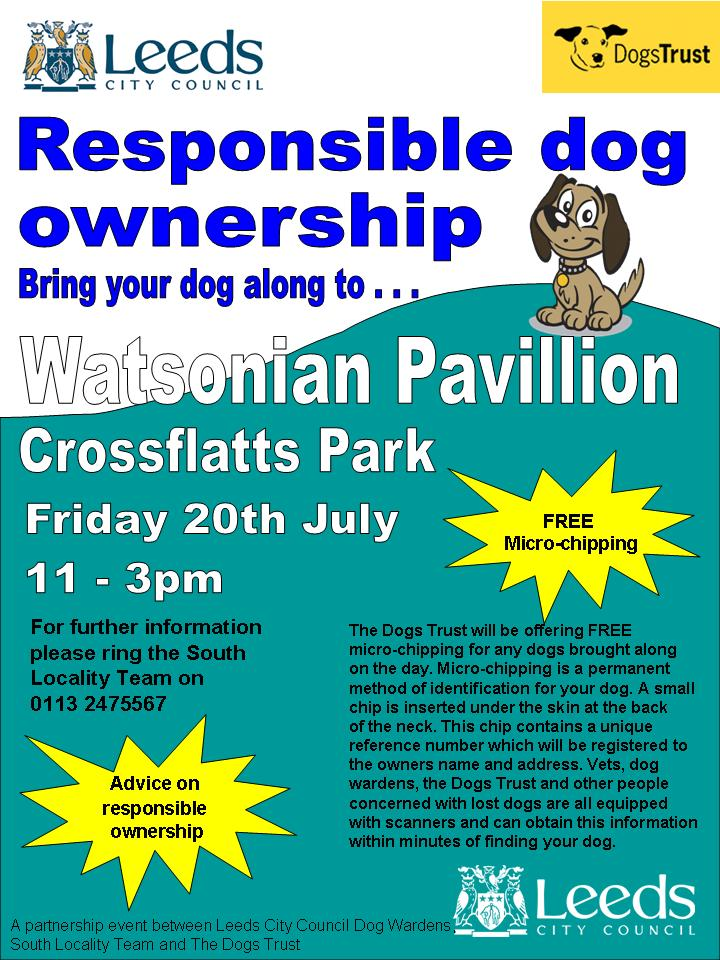 Free dog microchipping in Cross Flatts Park