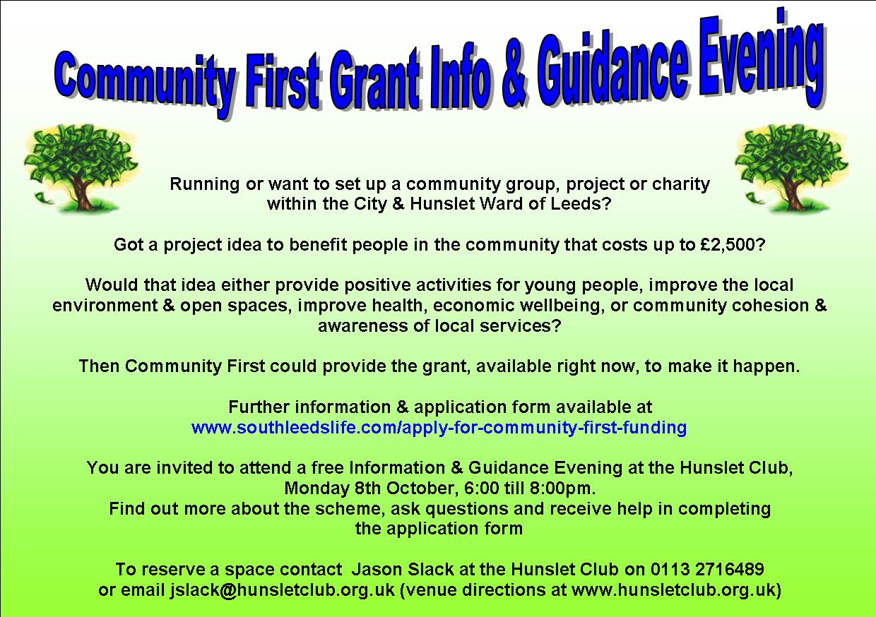 Reminder: Community First Grants Information & Advice Evening Tonight